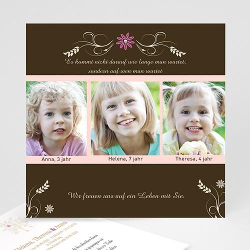 Adoptionskarten für Mädchen - Adoptionskarte brauner Hintergrund 1 1108