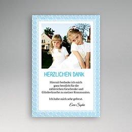 Dankeskarten Kommunion Mädchen - Kommunionskarte blau - 1