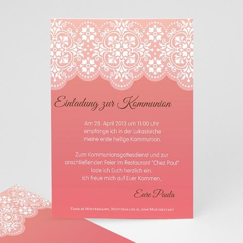 Einladungskarten Kommunion Mädchen - Spitzenmuster 12548