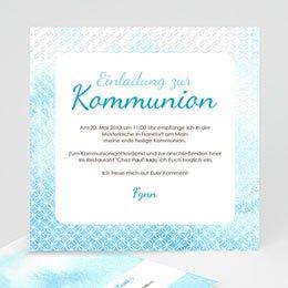 Einladungskarten Kommunion Jungen - Kommunionseinladung Blauton - 1
