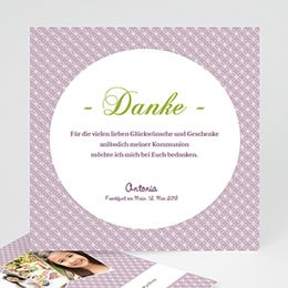 Dankeskarten Kommunion Mädchen - Einladungskarte Kommunion Ornament - 1