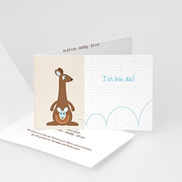 Babykarten für Jungen - Geburtskarte Känguru - 1