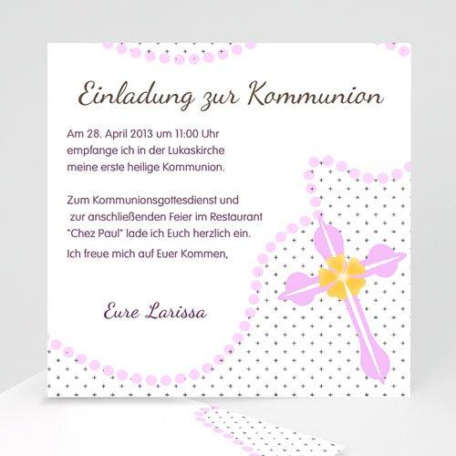 Einladungskarten Kommunion Mädchen - Perlenkette mit Kreuz  12707