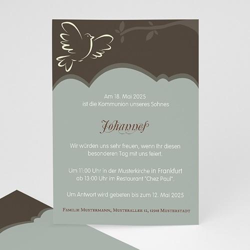 Einladungskarten Kommunion Mädchen - Symbol Taube  12713