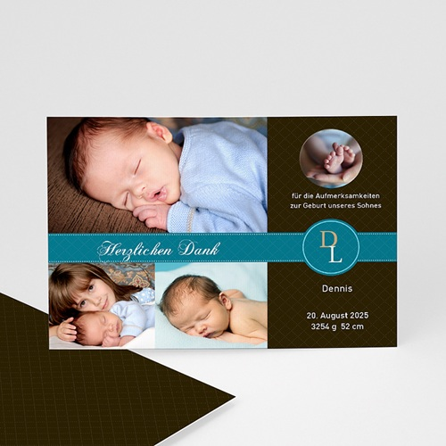 Dankeskarten Geburt Jungen - Danksagung Valentin 1284