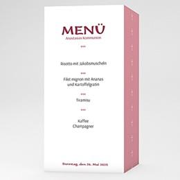 Menükarten Kommunion - Einladungskarte pink - 1