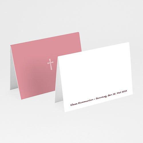 Tischkarten Kommunion - Einladungskarte pink 12899