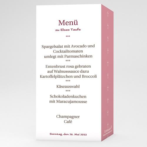 Menükarten Taufe - Einladungskarte pink 12978