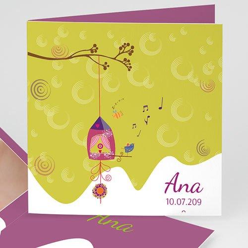 Geburtskarten für Mädchen - Vogelnest 13010