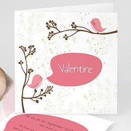 Geburtskarten für Mädchen - Piou piou - Rose - 1