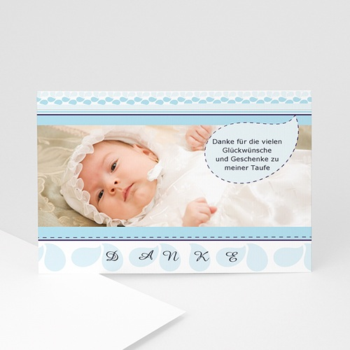 Dankeskarten Taufe Jungen - Blautöne - Taufe 1396