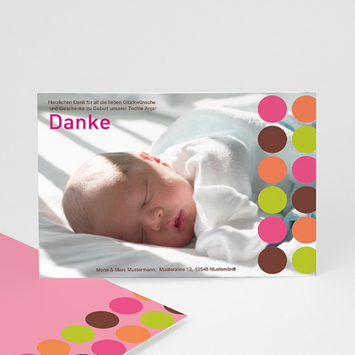 Dankeskarten Geburt Mädchen - Dankeskarte Kreise 14136