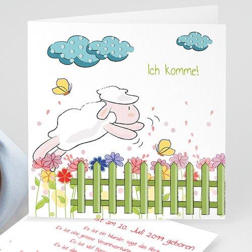 Geburtskarten für Mädchen - Springendes Schäfchen 14154
