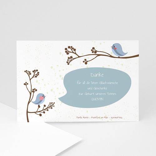 Dankeskarten Geburt Jungen - Piou piou - Blau 14156