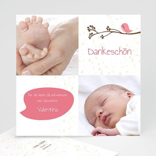 Dankeskarten Geburt Mädchen - Piou piou - Rose 14249