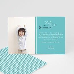 Einladungskarten Kommunion Mädchen - Kommunionskarte Türkis - 1