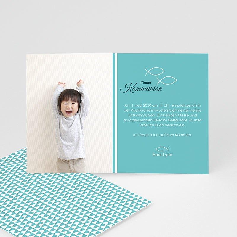 Einladungskarten Kommunion Mädchen - Türkis  Carteland.de