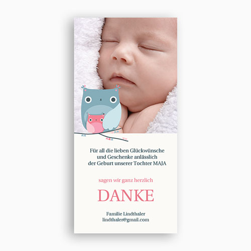Dankeskarten Geburt Mädchen - Babykarte 14437