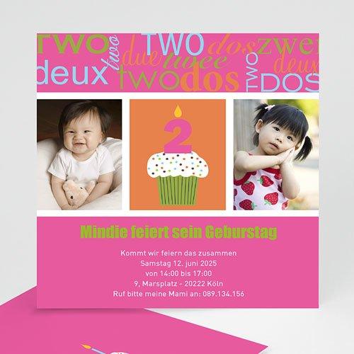 Geburtstagseinladungen Mädchen - Kindergeburtstagseinladung Kuchen 1448