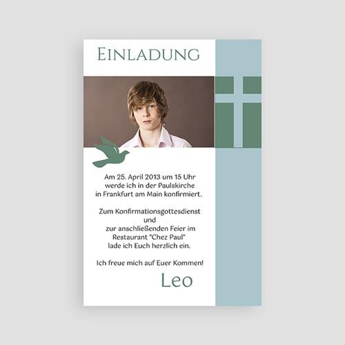 Einladungskarten Konfirmation - grün blau - mit Farbvarianten 14618