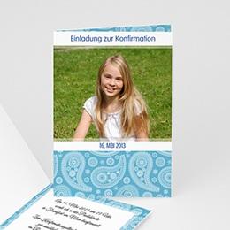 Einladungskarten Konfirmation - Kommunionskarte blau - 1