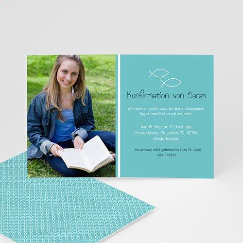 Einladungskarten Konfirmation - Fischmotiv - mit Farbvarianten  14678