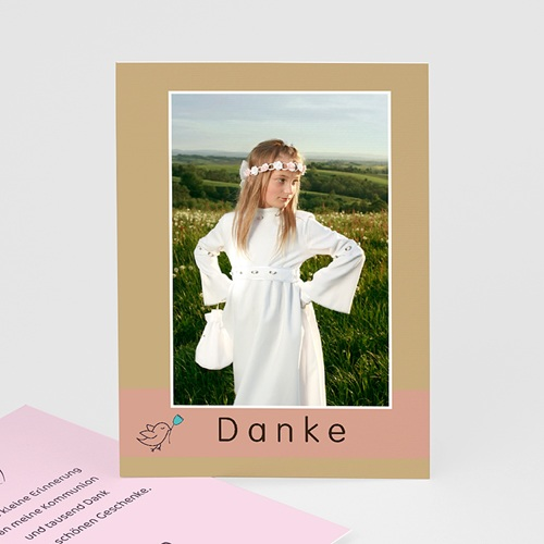 "Dankeskarten Kommunion Mädchen - Dankeskarte ""Gestreift"" 1476"