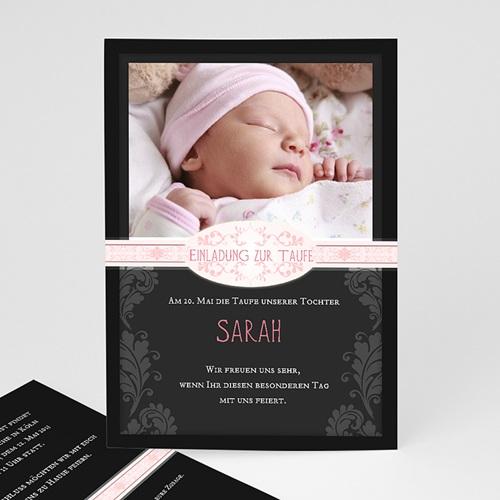 Einladungskarten Taufe Mädchen - Taufeinladung modern schwarz 14780