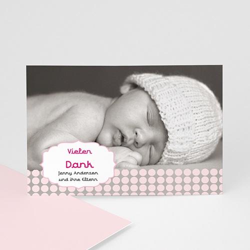 Dankeskarten Geburt Mädchen - Retro Rosa 14908
