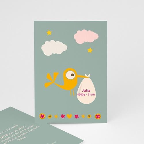Geburtskarten für Mädchen - Storch Mädchen 14926