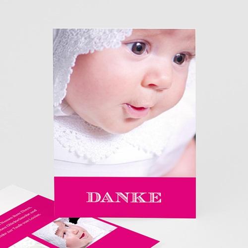 Dankeskarten Taufe Mädchen - Typo Rose 14950