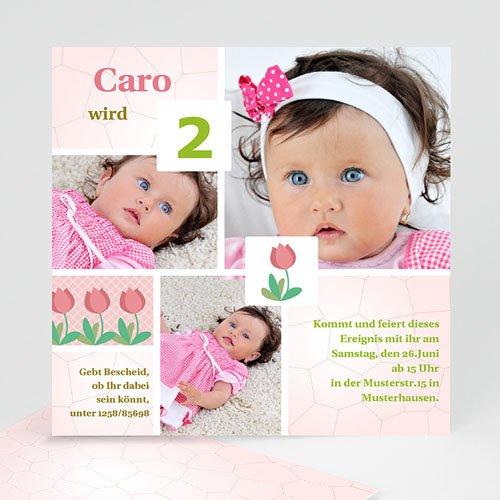 Geburtstagseinladungen Mädchen - Kindergeburtstag - rosa Tulpen 1496