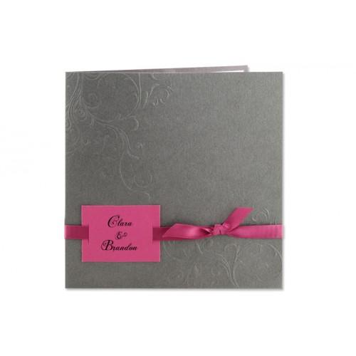 Archivieren - Einladung grau Blumenreliëf Arabesken JZ-23 15600