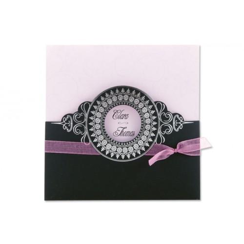 Archivieren - Einladung schwarz/rosa mit silberprägung JX 15674