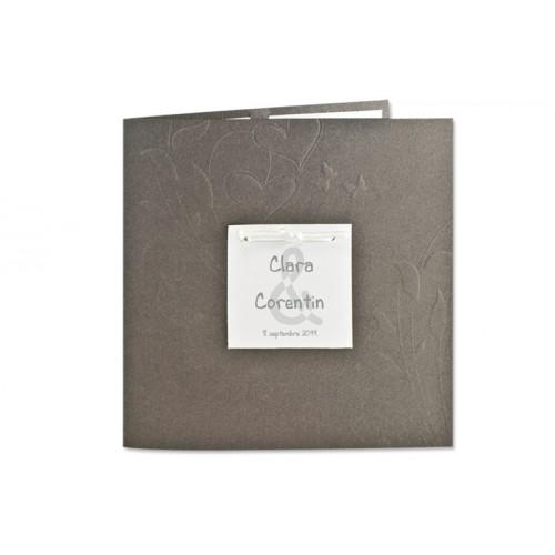 Archivieren - Einladung grau metallic und ecru JX-506 15686