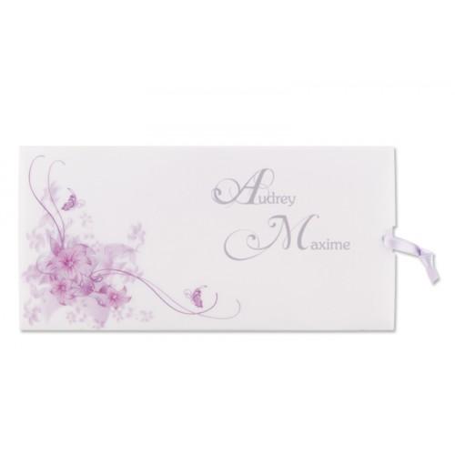 Archivieren - Einladung violett mit Blumen Arabesken JS-1 15692