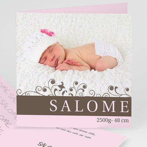 Geburtskarten für Mädchen - Marie - rosa und grau 15801