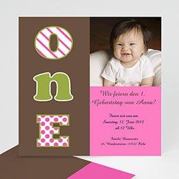 Geburtstagseinladungen Mädchen - Geburstageinladung one - 1