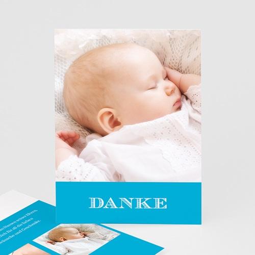 Dankeskarten Taufe Jungen - Blau Fotoserie 16076
