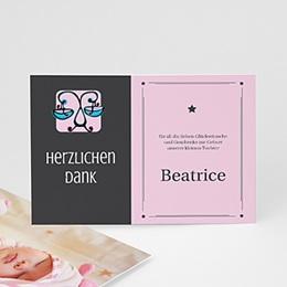 Dankeskarten Geburt Mädchen - Sternzeichen Waage - 1
