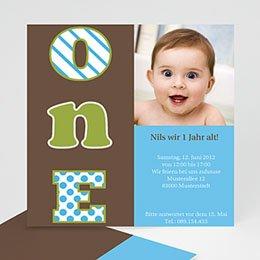 Geburtstagseinladungen Jungen - Kindergeburstageinladung one - 1