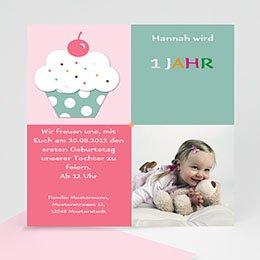 Geburtstagseinladungen Mädchen - Cupcake mit Kirsche - 1