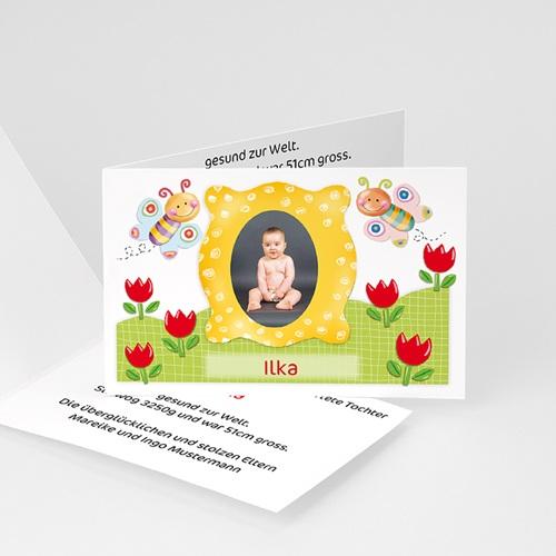 Geburtskarten für Mädchen - Geburtskarte Schmetterlingsrahmen 1 16500