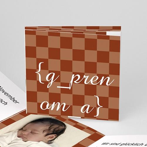 Geburtskarten für Mädchen - Geburtskarte Karodesign braun 16514
