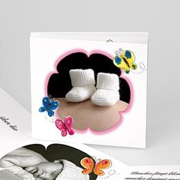 Geburtskarten für Mädchen - Geburtskarte Schmetterlingsflattern - 1