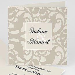 Hochzeitseinladungen modern - Hochseitskarte moderne Arabeske - 1