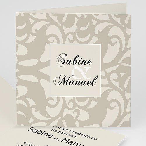Hochzeitseinladungen modern - Hochseitskarte moderne Arabeske 16634