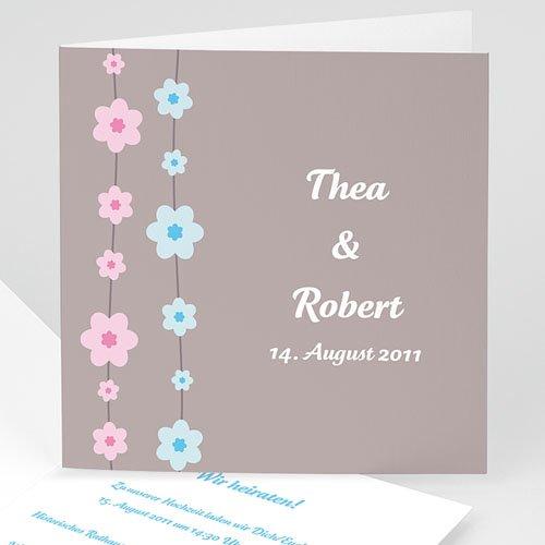 Hochzeitseinladungen modern - Hochzeitskarte Blumenreihe 16639