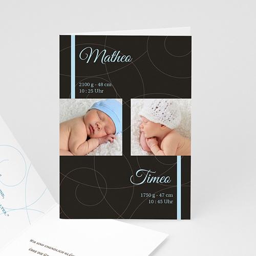 Babykarten für Jungen - Geburtskarte Schlicht und klassisch 16755