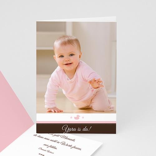Adoptionskarten für Mädchen - Geburtskarte Mädchen rosa 1 16827